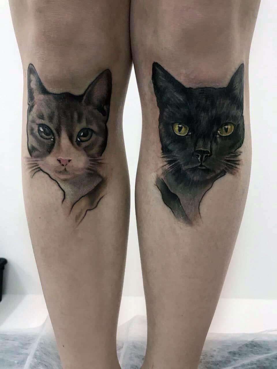 Татуировки котов на ноге фото