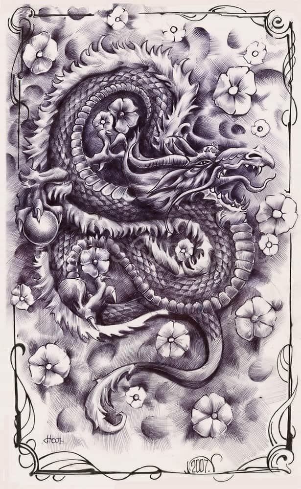Фото тату драконов японские