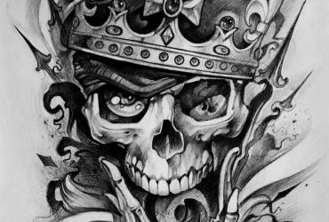 Эскиз черепа в стиле чикано