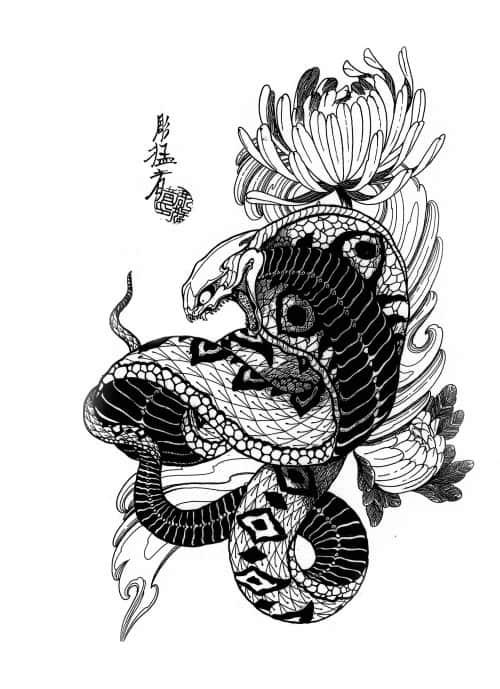 рисунки змеи для тату