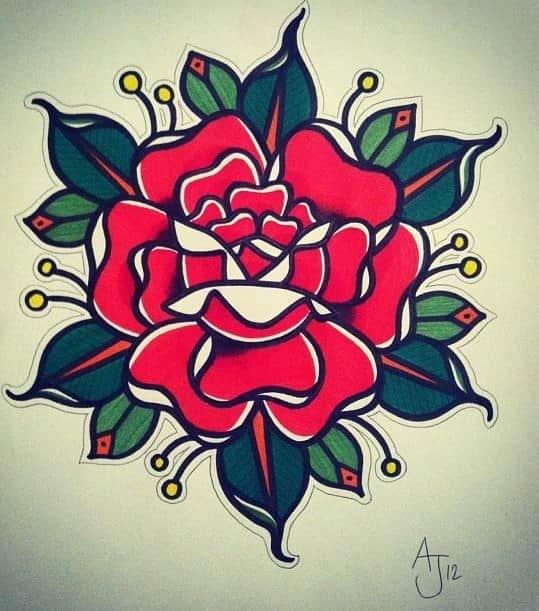 Эскиз тату олд скул роза