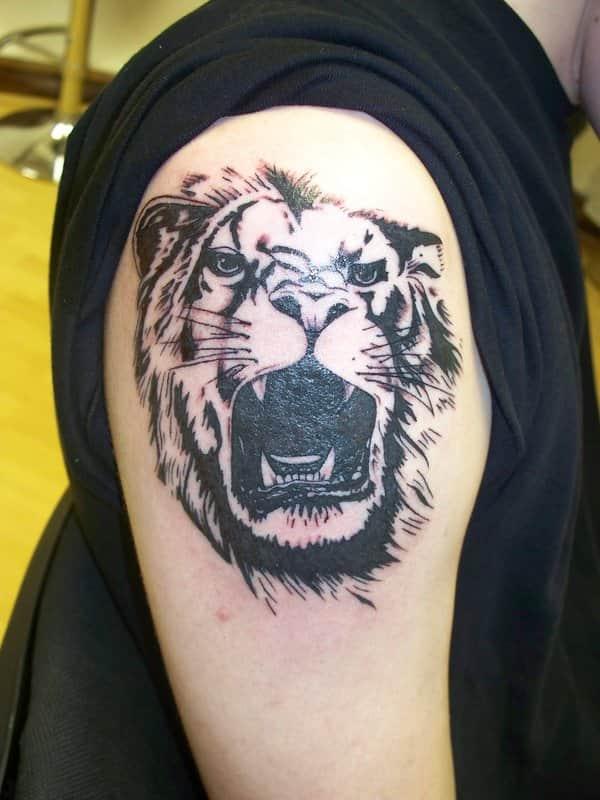 тату на руке мужские тигр