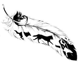 for Wolf tattoo with feathers