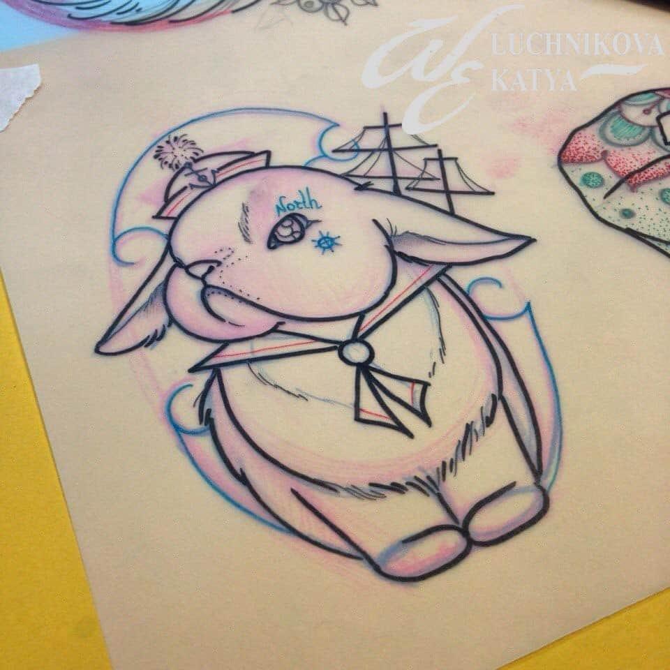 эскиз татуировки олд скул заяц