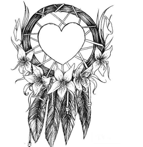 Эскиз ловец снов с сердцем