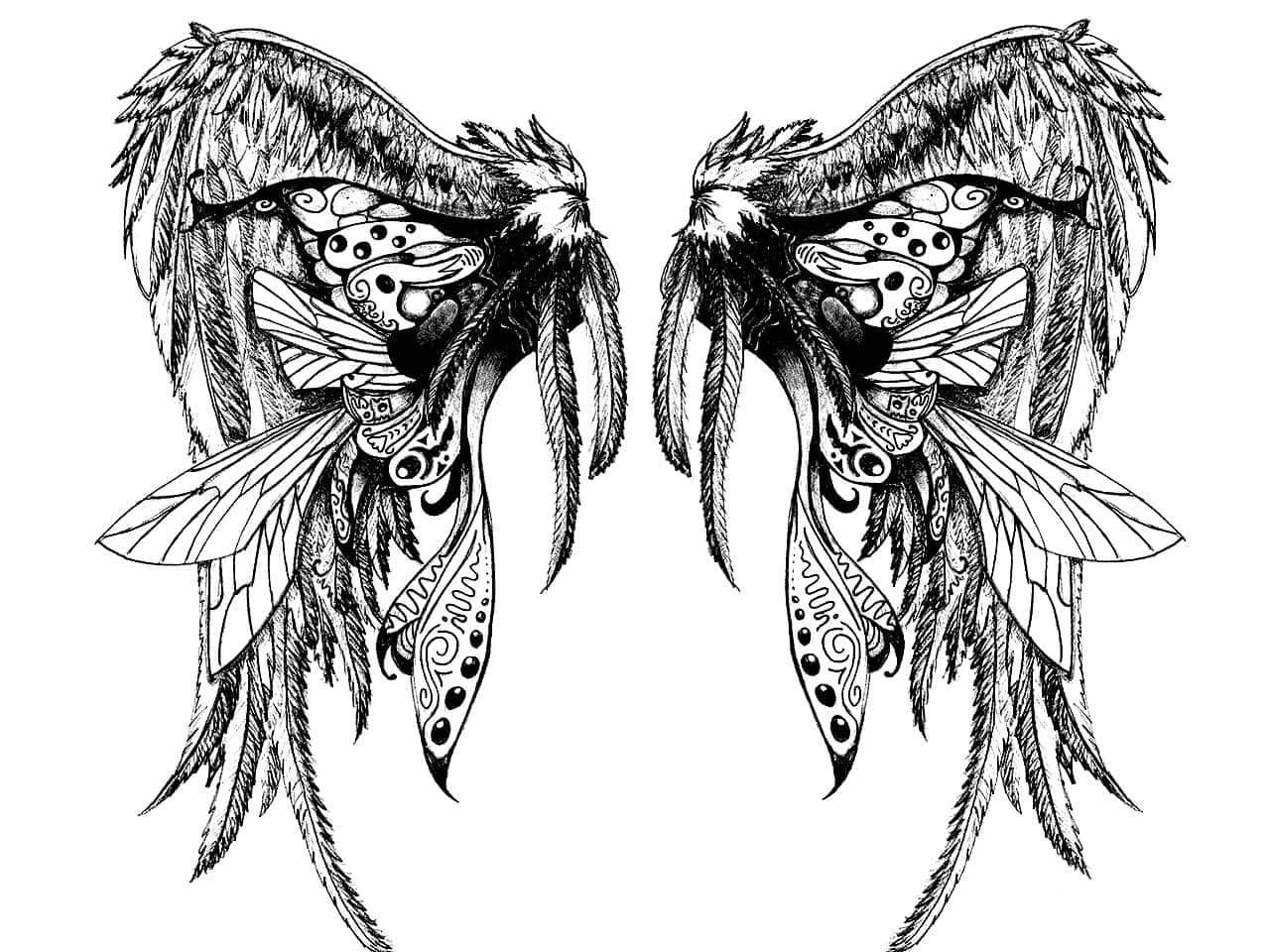 эскиз тату крыльев на спину