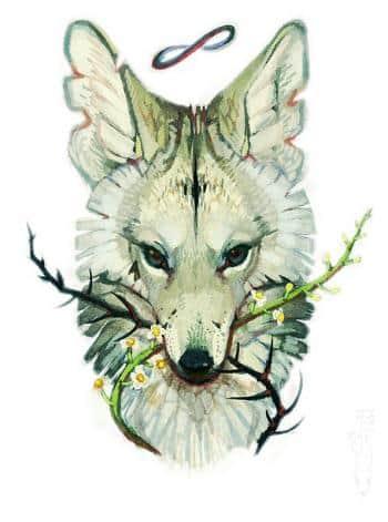 Эскиз тату красивой волчицы