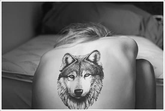 фото тату волк на спине