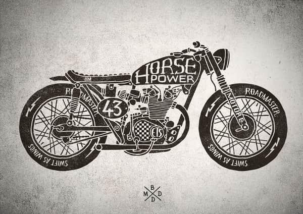 эскиз тату мотоцикл