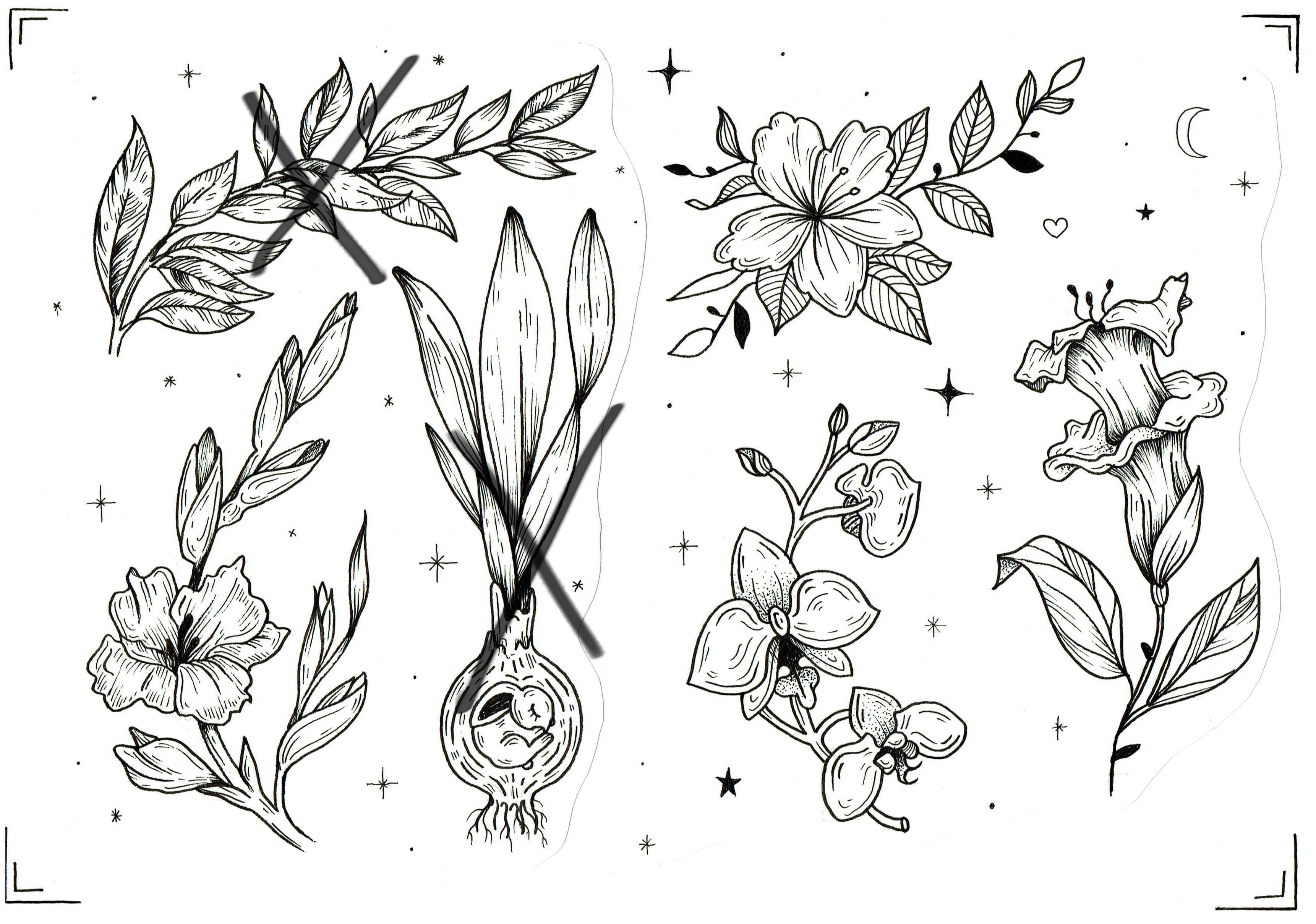 Эскиз тату с цветами