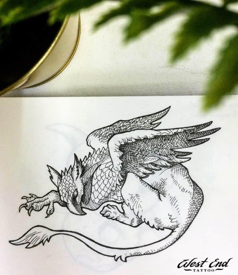 Эскиз тату дракона