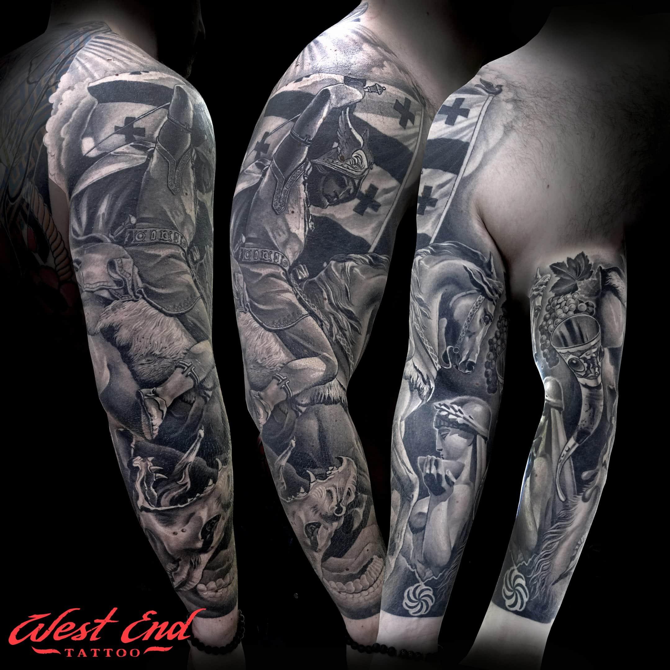 Большие черные тату портреты на руке