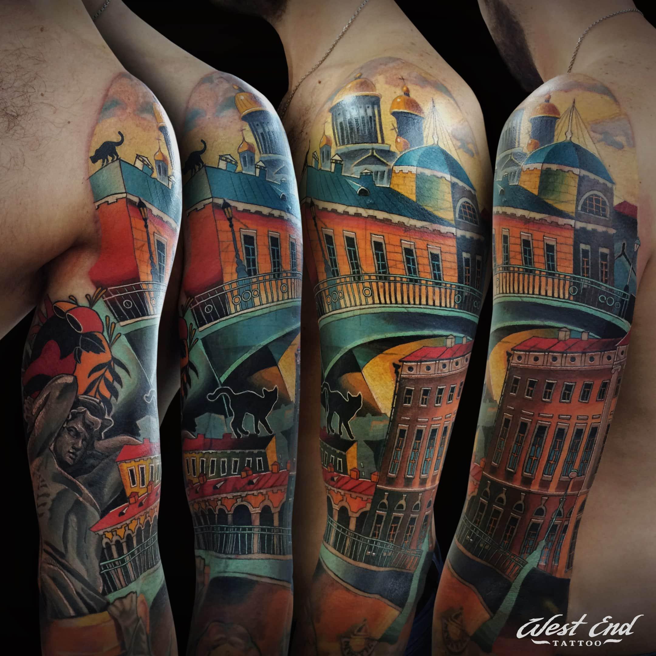 Цветные тату на руке