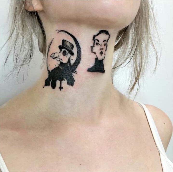 Черные тату на шее