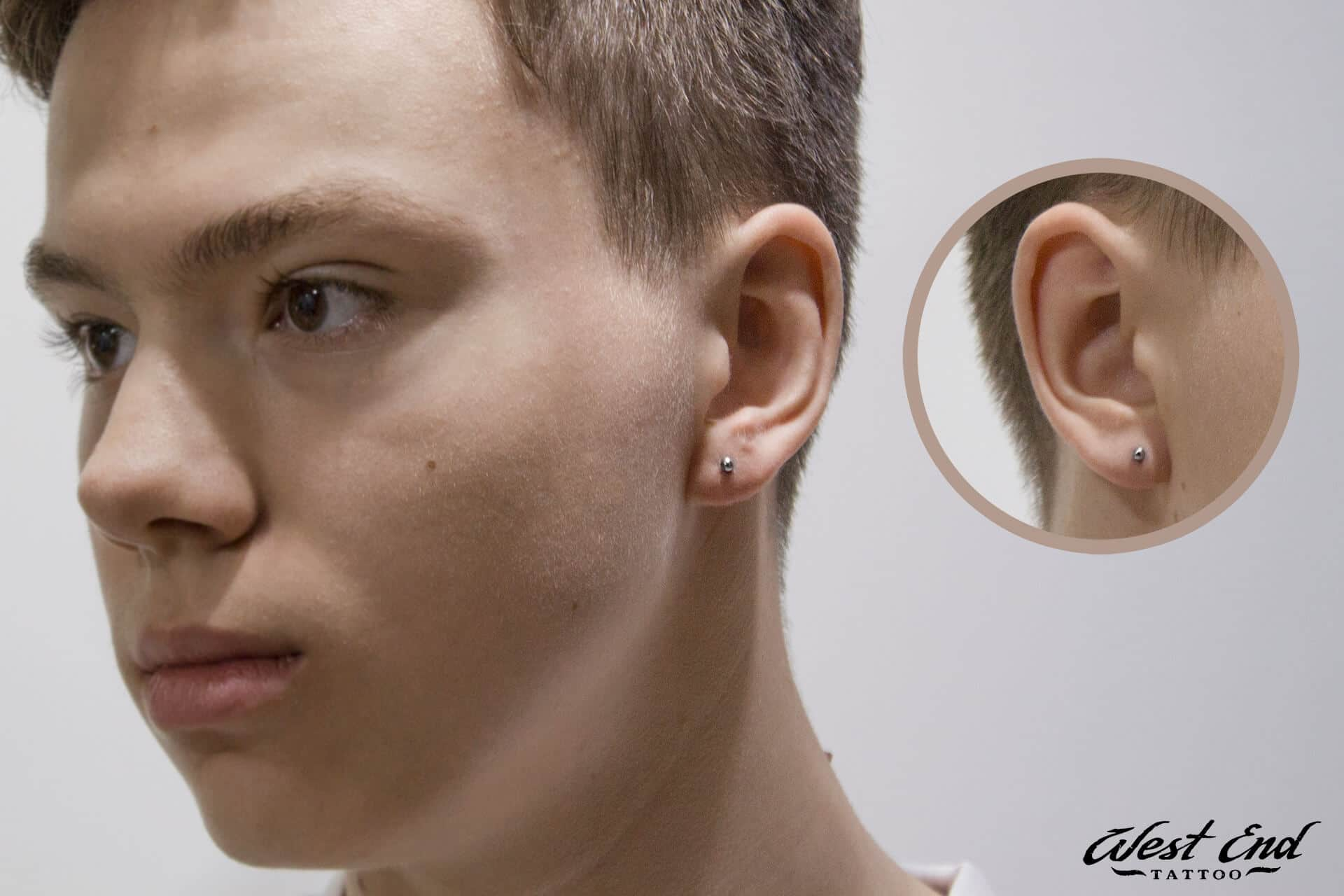 Классический прокол мочки уха