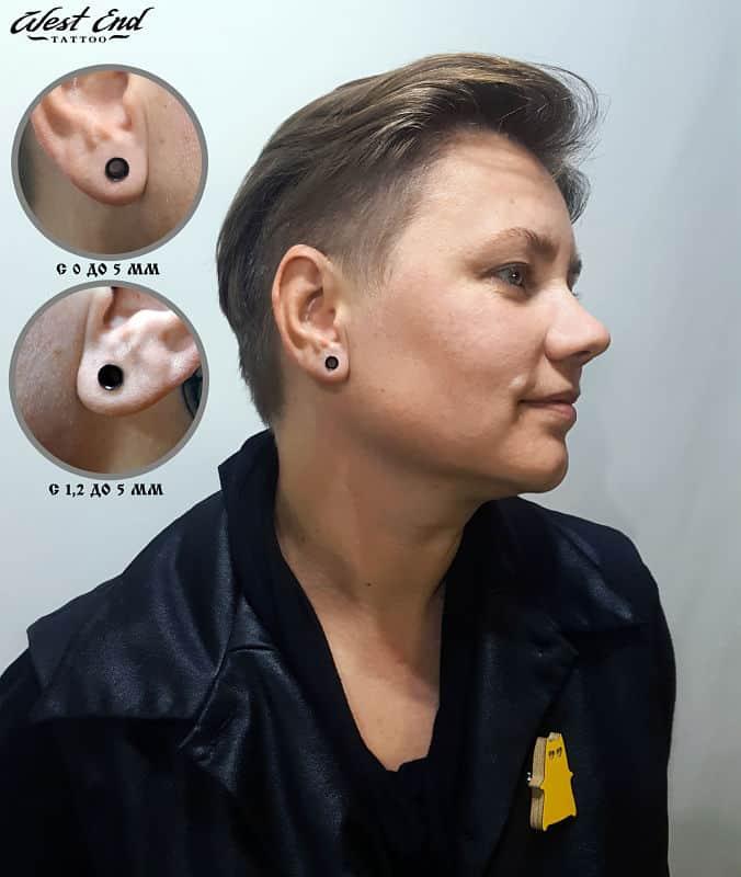 Классический прокол мочки уха для женщин