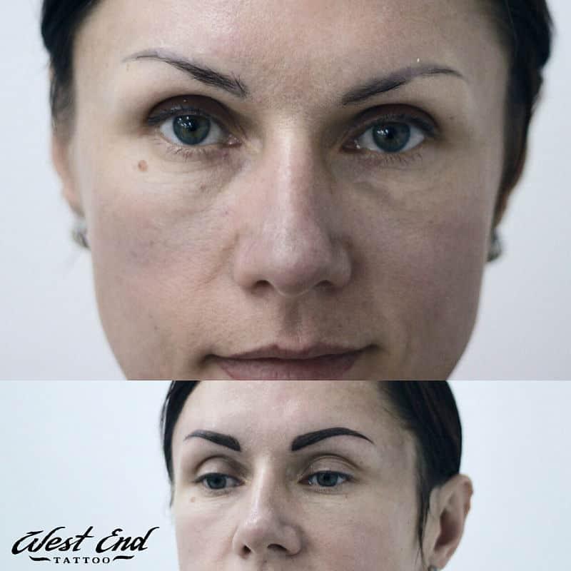 Перманентный макияж бровей черного цвета