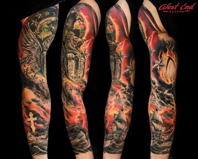 Тату регби тематика цветной реализм рукав мужская тату