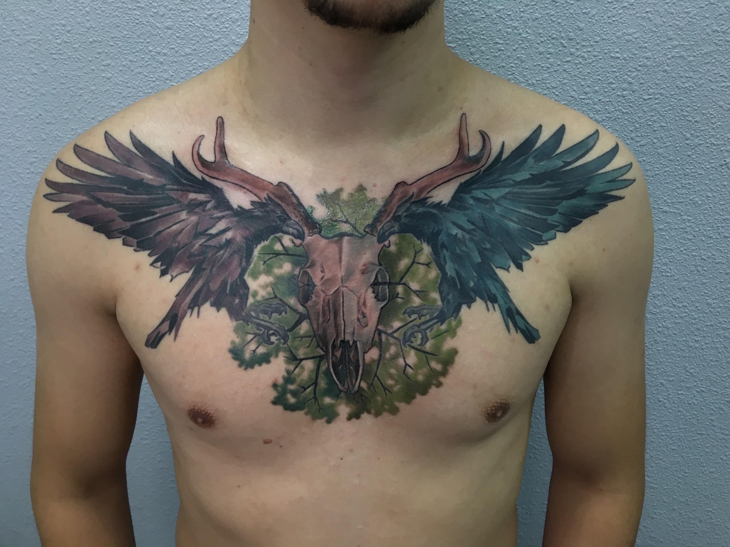 Тату цветная на грудь реализм птицы