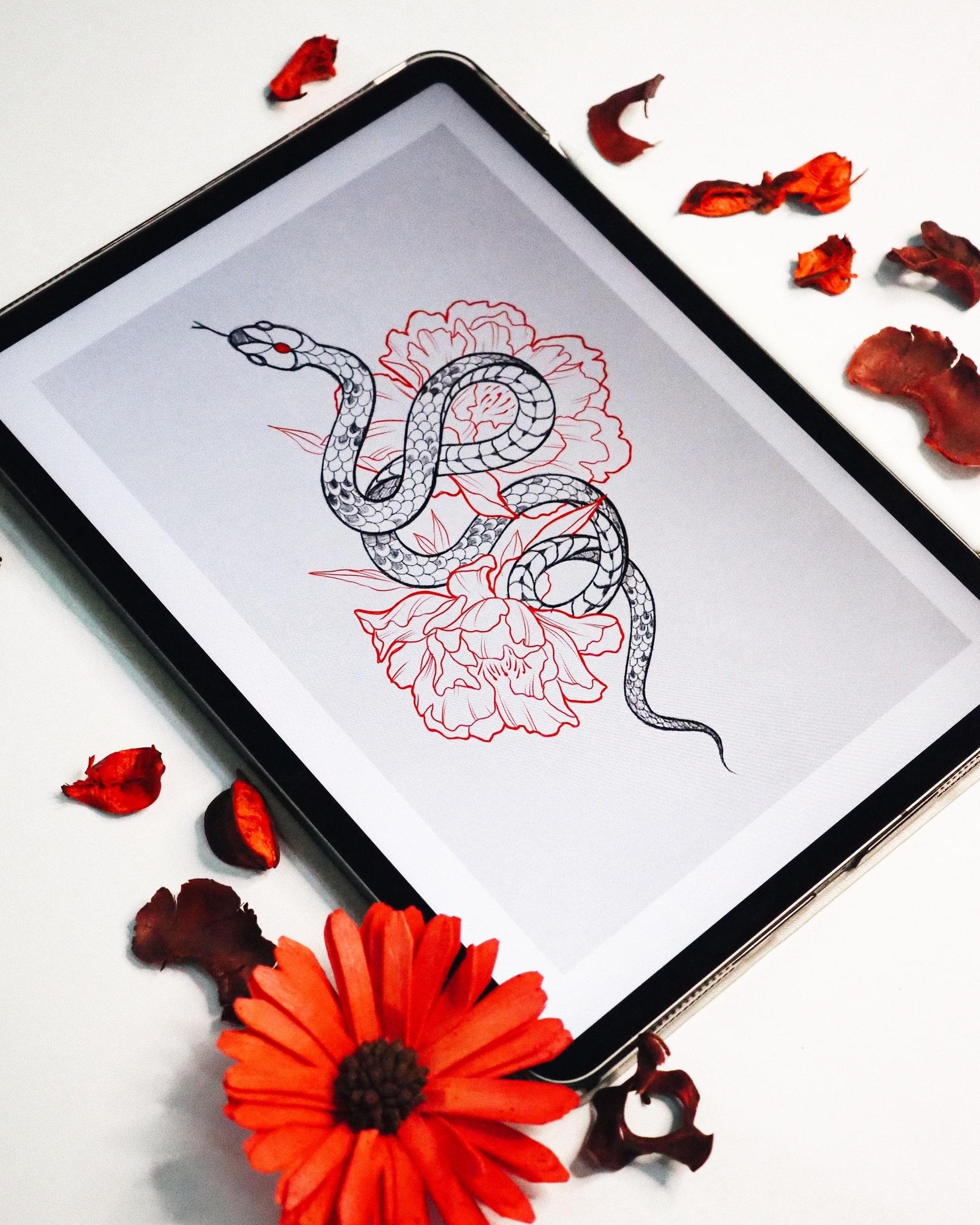 Эскиз змея графика