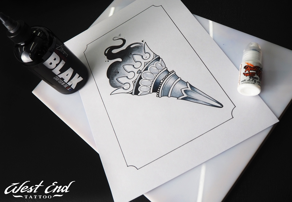 Эскиз черно-белый факел