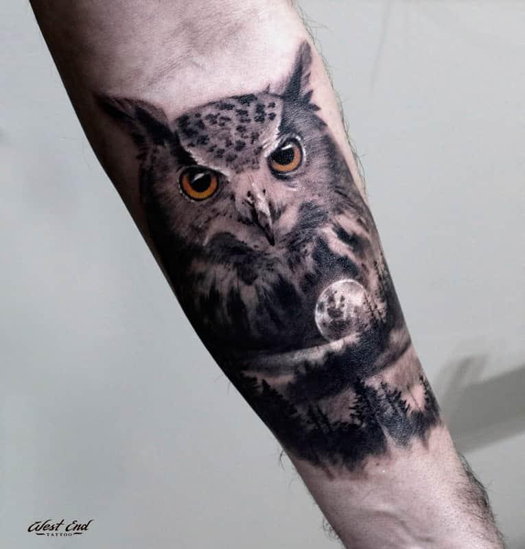 Татуировка совы в стиле реализм