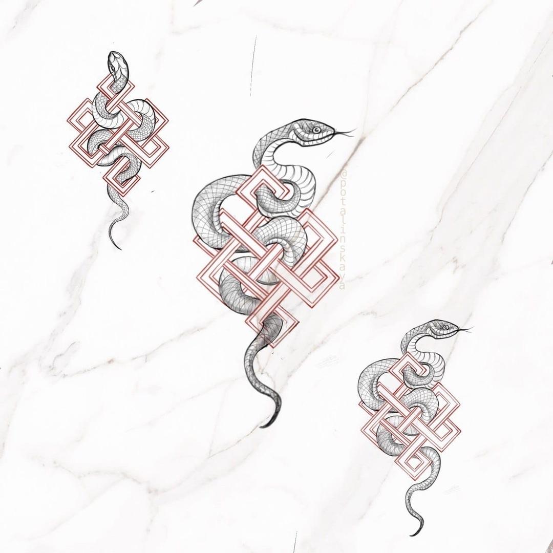 Эскиз змея и узор графика