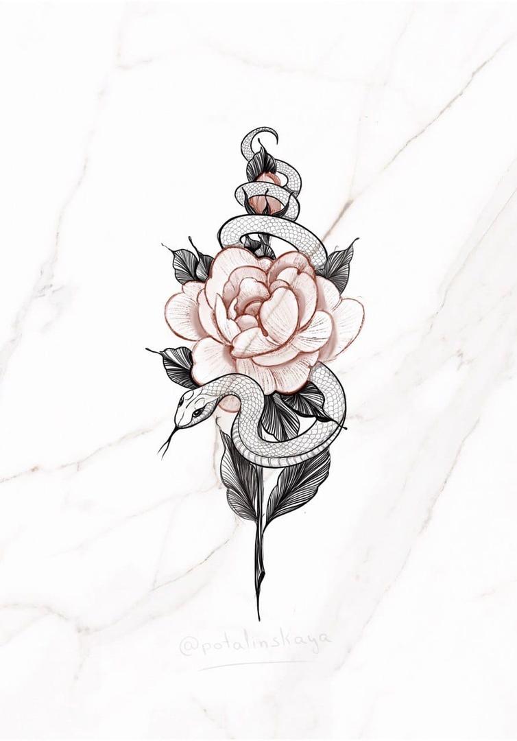 Эскиз змея и цветок графика
