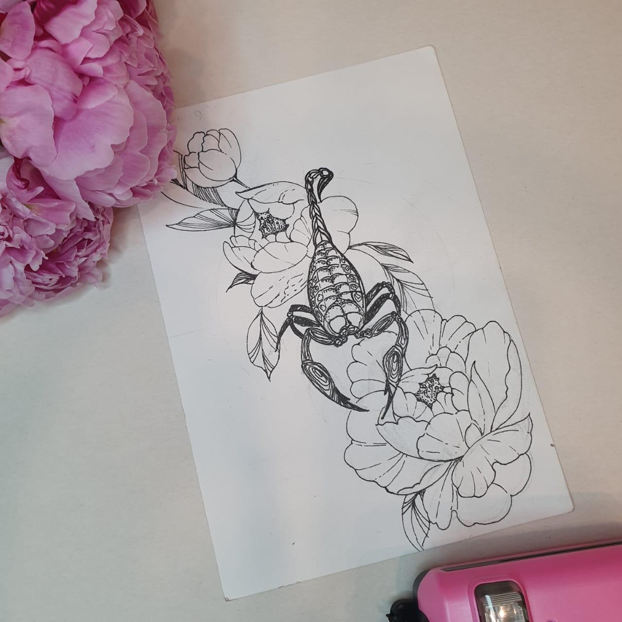Эскиз скорпион в цветах графика