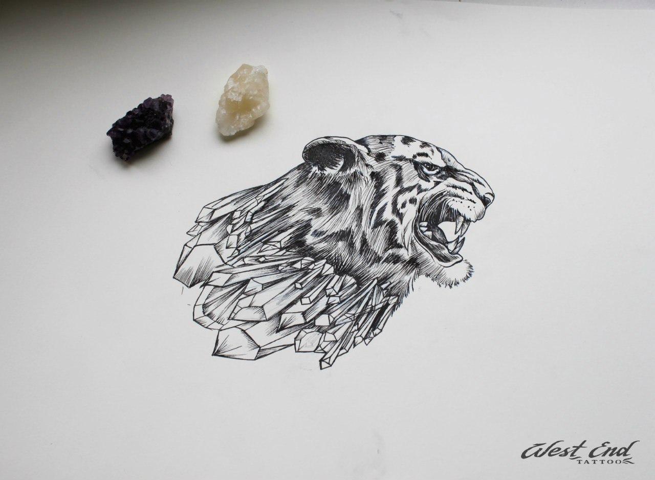 Эскиз голова тигра графика