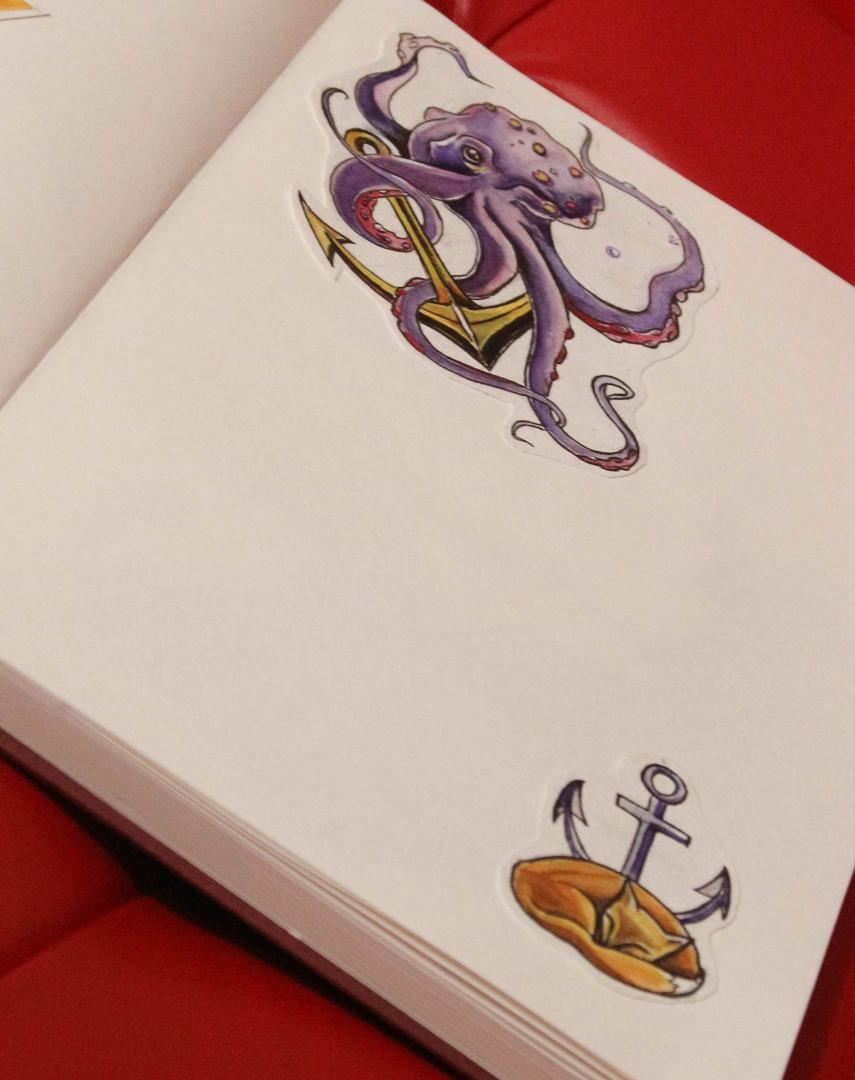 Эскиз осьминог и якорь и лиса и якорь