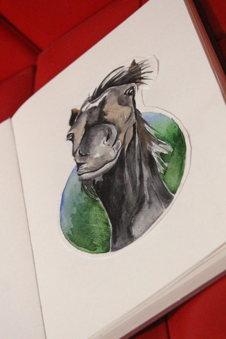 Эскиз черный конь